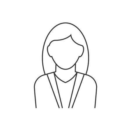 Businesswoman avatar line icon on white background
