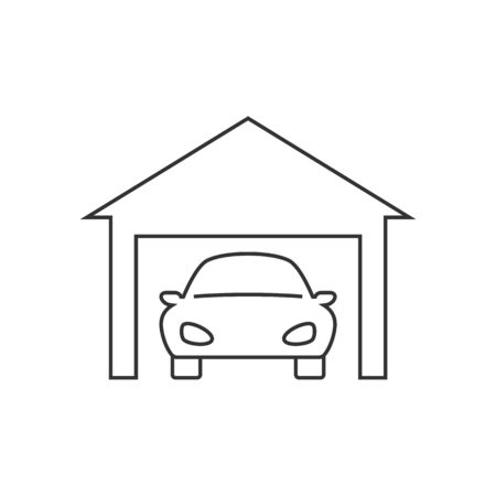 Car in garage line icon on white background