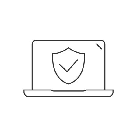 Laptop computer protected linear icon on white background