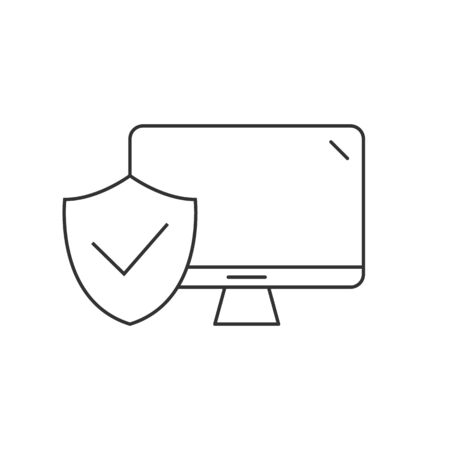 Desktop computer protected linear icon on white background 일러스트