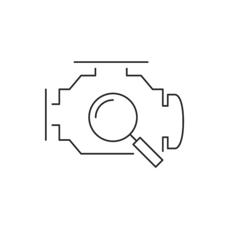 Diagnostics engine linear icon on white background