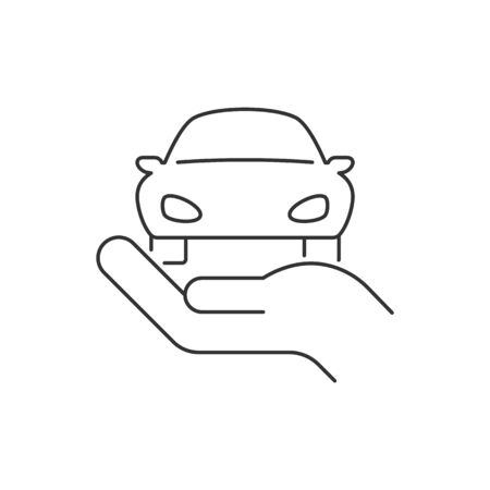 Hand holding car linear icon on white background