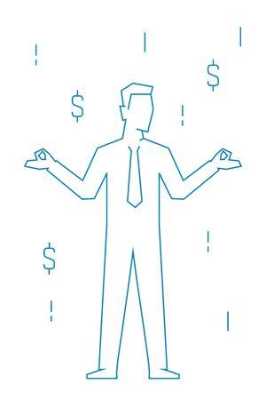 Businessman standing relax on mediation linear illustration