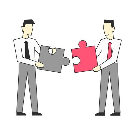Businessmen standing and join puzzle vector illustration