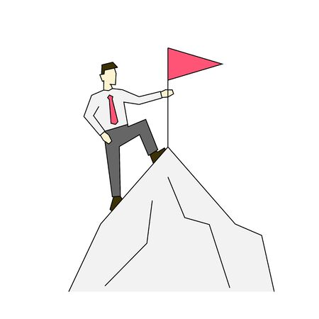 Businessman on the top of mountain linear color illustration on white background 일러스트