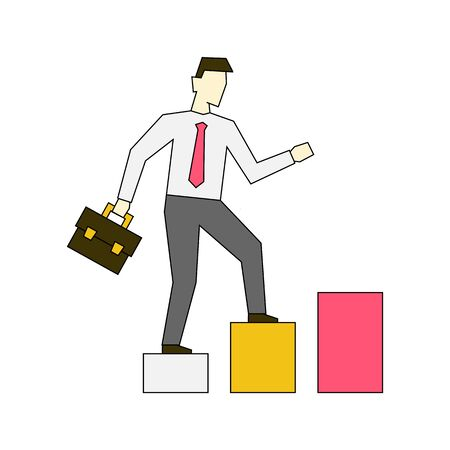 Businessman going up the stairs linear illustration