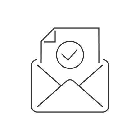 Email approve line icon on white background 일러스트