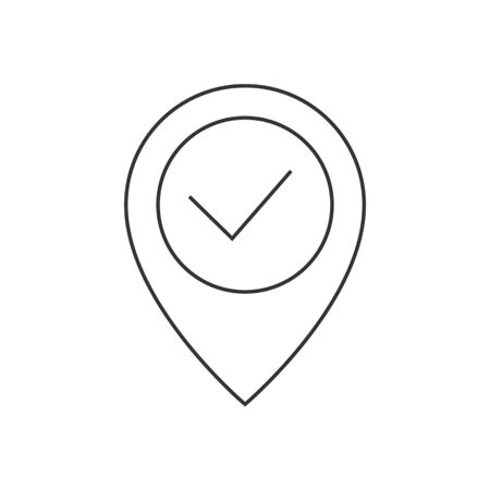 Location pin with check mark line icon 일러스트
