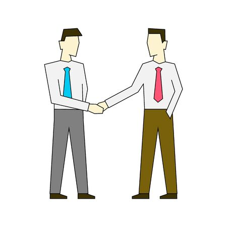 Businessmen shaking hands outline color illustration on white background