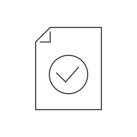 Document approved line icon on white background 일러스트
