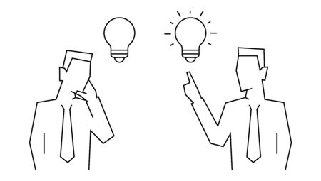 Conception of idea in businessman linear illustration