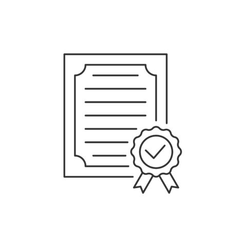 Approved certificate line icon on white background