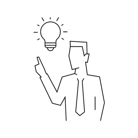 Idea came to the businessman line illustration on white background