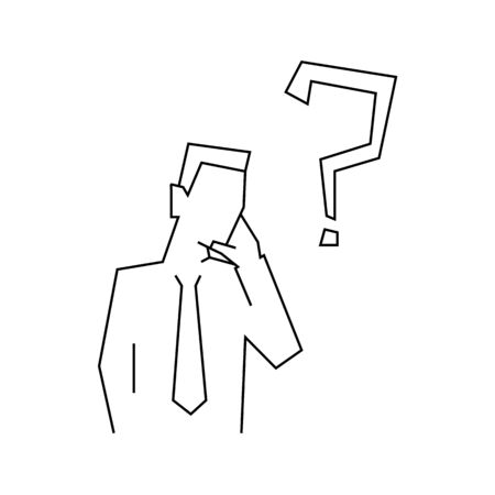 Thinking businessman line illustration on white background 일러스트