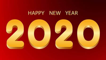 Happy New Year golden numbers 2020 on red background