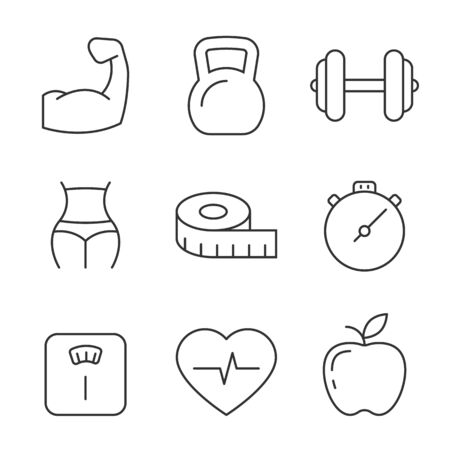 Fitness and gym line icons on white background. Editable stroke