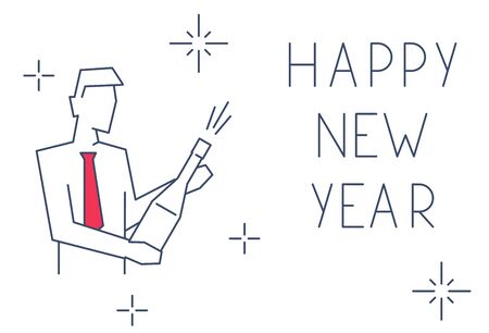 Businessman opened a bottle of champagne linear illustration. Happy new year greeting