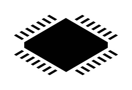 Cpu processor isometric icon on white background