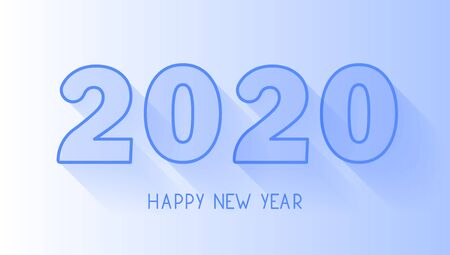 Happy new year 2020 line numbers with shadow on blue background. New year greeting card. Editable stroke