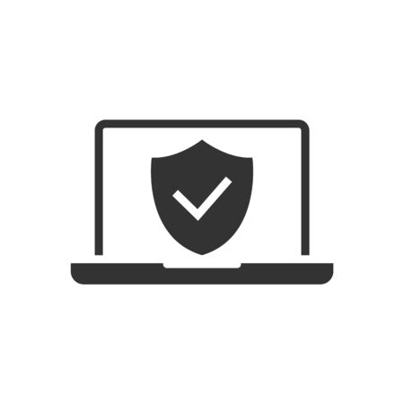 Icône noire protégée par ordinateur portable sur fond blanc. Illustration vectorielle Vecteurs