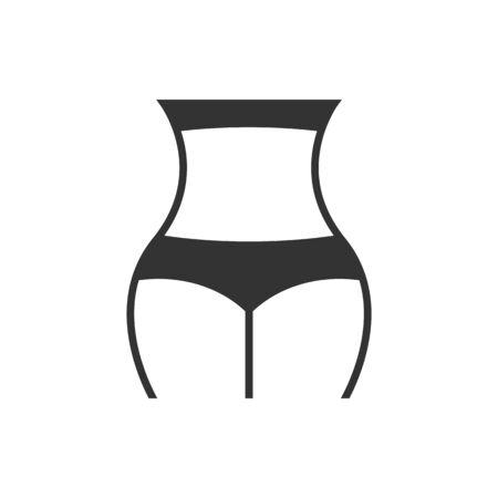 Female figure black icon on white background 矢量图像