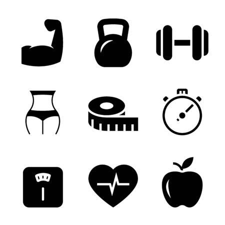 Iconos de fitness negros sobre fondo blanco. Ilustración vectorial