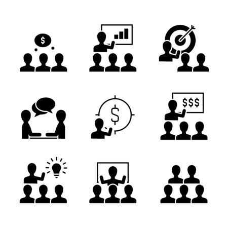 Business-Training schwarze Symbole auf weißem Hintergrund. Symbole für Präsentation, Trainingsgruppe, Menschen, die das Ziel unterrichten und erreichen und Gewinn erzielen.