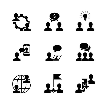 Business cooperation black icons on white background