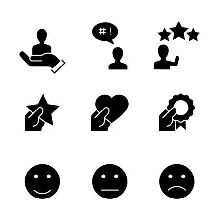 Customer satisfaction black icons on white background Ilustracja