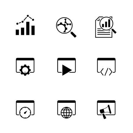 Search engine optimization black icons on white background