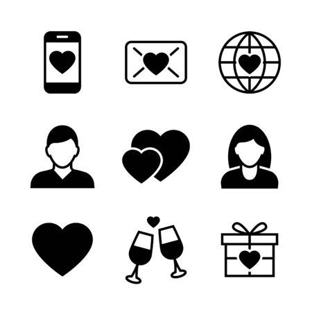 Valentine s day black icons on white background