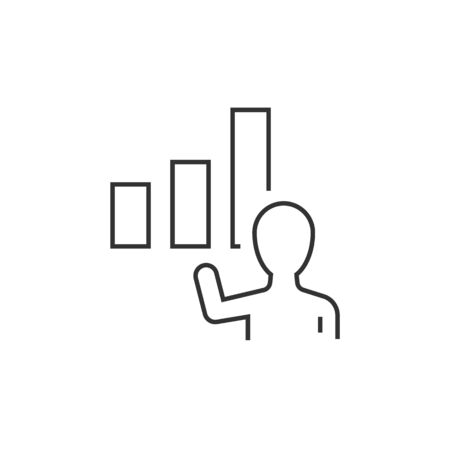 Businessman showing growing graph linear icon. Editable stroke