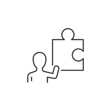 Businessman hold part of puzzle linear icon. Editable stroke Ilustracja