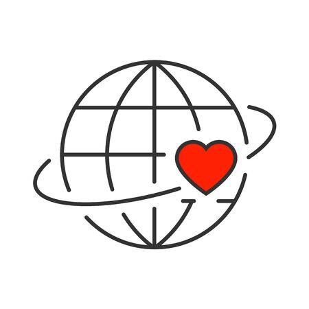 Heart revolves around the earth line icon Vetores