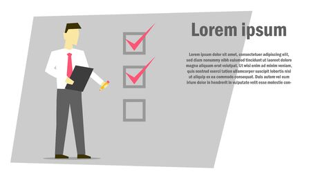 Businessman holding in hands clipboard with checklist