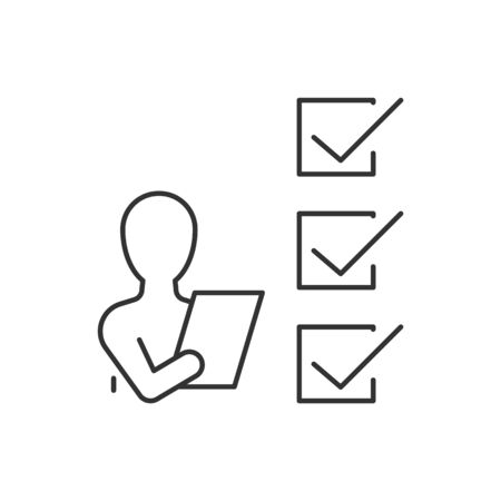 Man with checklist line icon on white background. Vector illustration. Editable stroke 일러스트