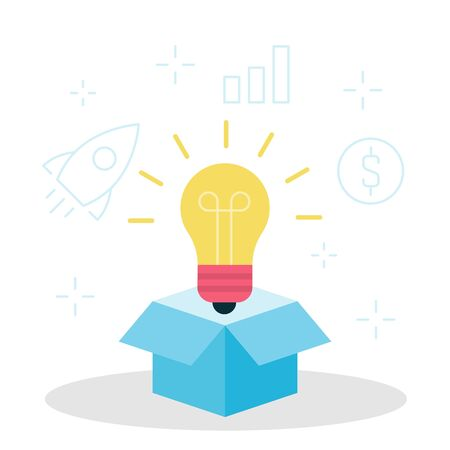 Light bulb looks out of the box vector illustration. Think outside the box. Business concept