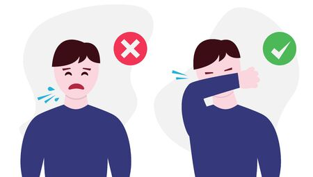 Man character coughing right and wrong illustration