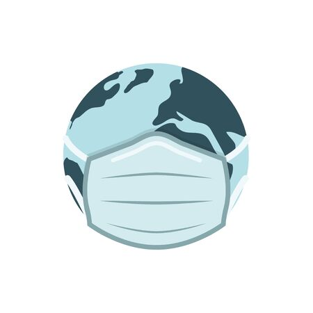 Earh globe in medical face mask vector illustration