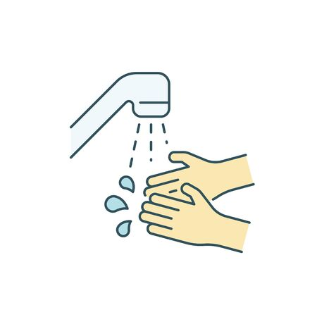 Wash your hands with water color line icon 向量圖像