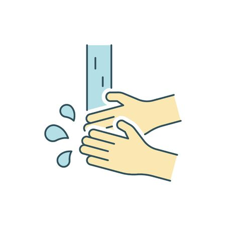Washing hands line color icon on white background