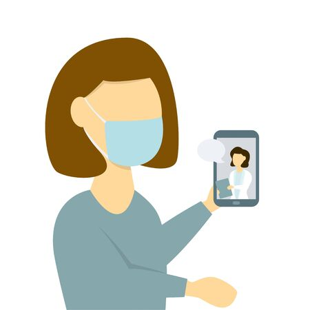Woman receiving medical online consultation using smartphone
