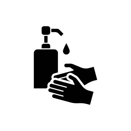 Washing hands with liquid soap icon isolated Illustration