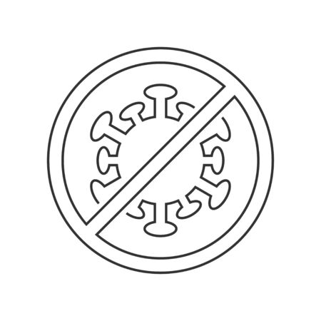 Stop coronavirus sign linear icon on white background  イラスト・ベクター素材