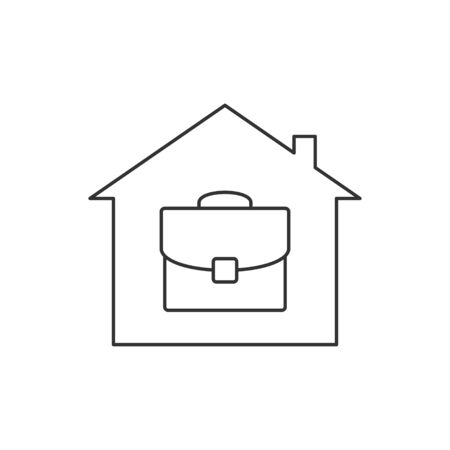 Home office line icon on white background  イラスト・ベクター素材