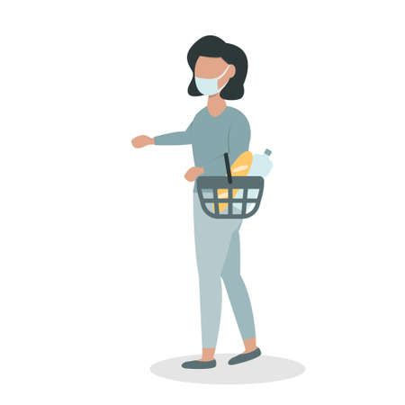 Woman in a face mask with a basket vector illustration
