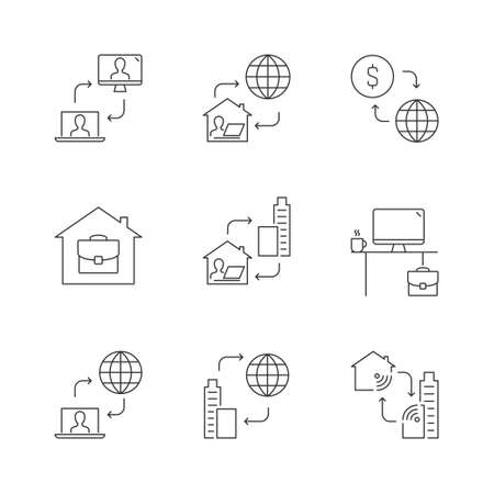 Home office linear icons on white background