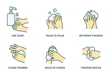 How to wash your hands properly color line icons. Hand hygiene vector illustration  イラスト・ベクター素材