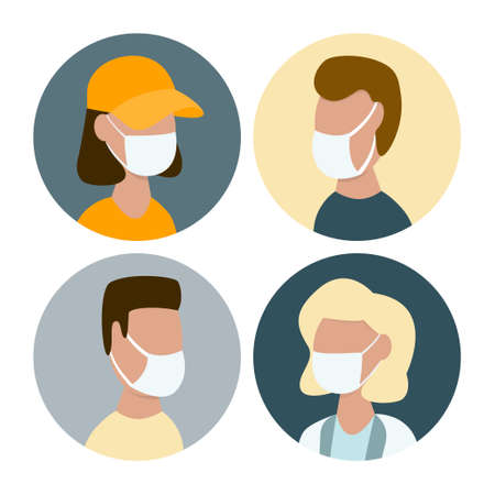 People in protective face masks during covid-19 outbreak vector illustration. Flat design  イラスト・ベクター素材