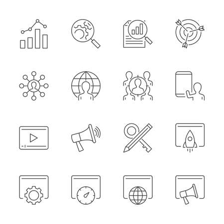 Search engine optimization line icons set on white background